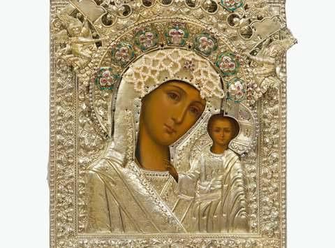 Mother of God of Kazan, Icon in oklad,  late 17th to early 18th century, © Moscow Sergiev Posad State History and Art Museum